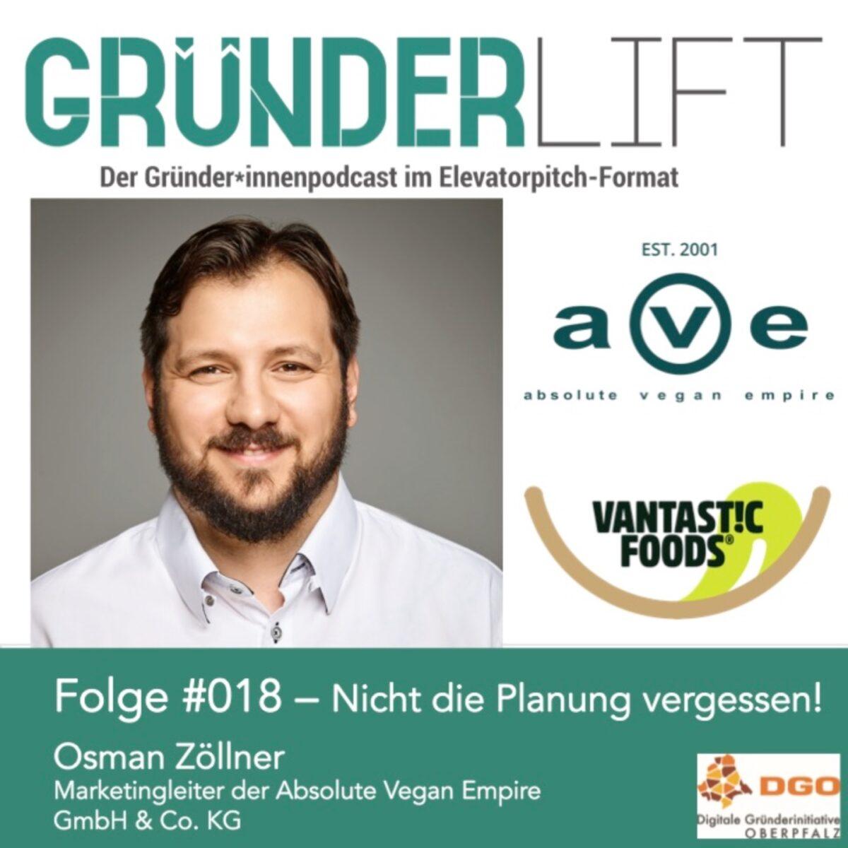 Osman Zöllner erzählt im Gründerlift von Absolute Vegan Empire Vantastic Foods